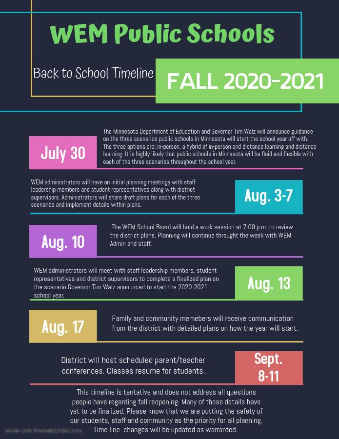 Back to School Timeline