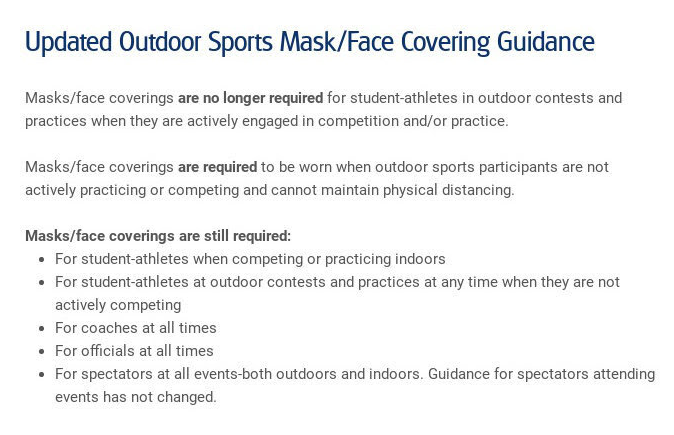 updated outdoor sports mask/face covering guidance