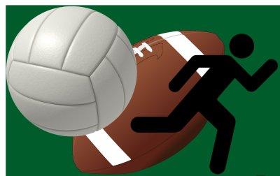 volleyball, football, runner